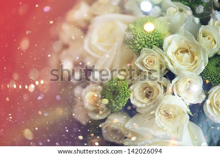 Wedding bouquet of white roses. - stock photo