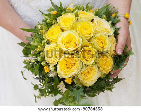 wedding bouquet of yellow roses
