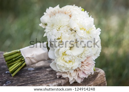 Wedding bouquet on a brides wedding day.