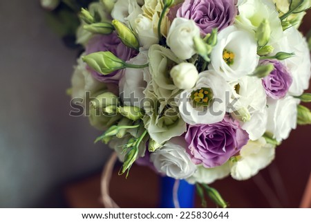 Wedding bouquet on the table - stock photo