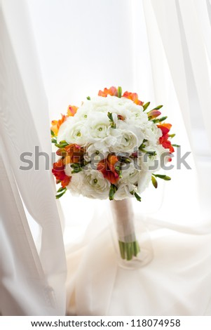 wedding bouquet on the window