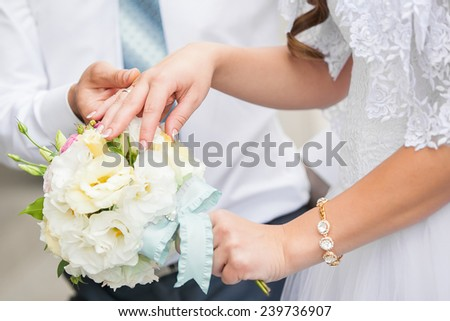 wedding bouquet. Wedding couple holding hands