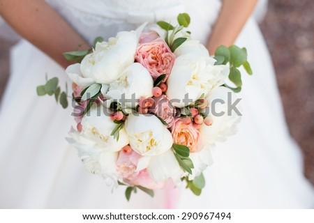wedding bouquet, white peony and david austin - stock photo