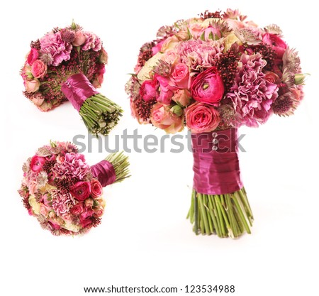 wedding bouquet with Astrantia, Skimma, Brassica, rose bush, Ranunculus asiaticus, cloves, isolated on white - stock photo
