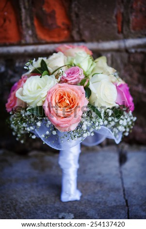 wedding bouquet with colorful roses - stock photo
