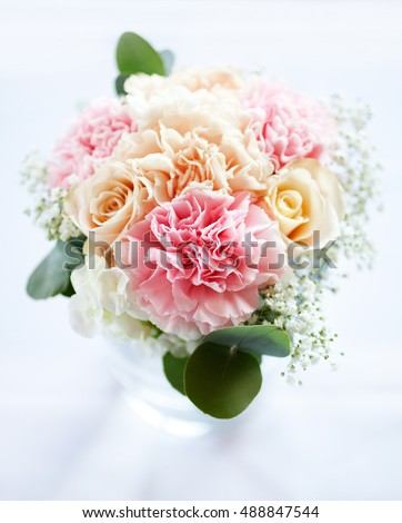 Wedding bouquet with pastel colour flowers