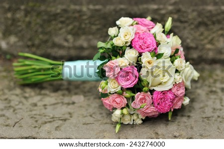 Wedding bouquet with roses. - stock photo