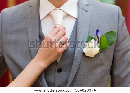 Wedding boutonniere and the bride's hand with wedding ring on groom tie - stock photo
