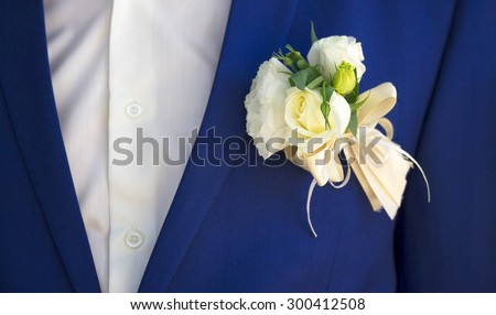 Wedding boutonniere for the groom - stock photo
