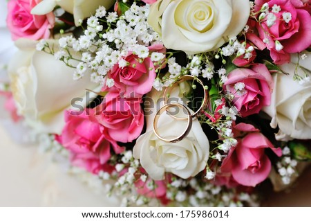 wedding bridal bouquet closeup - stock photo