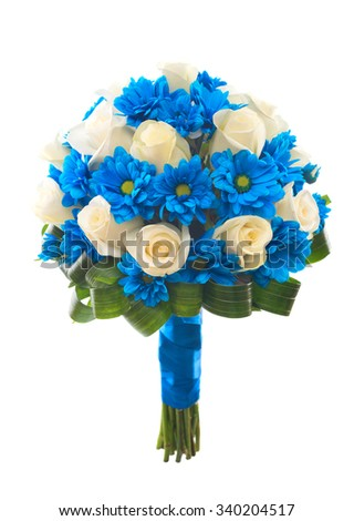Wedding bridal bouquet. Cream roses and blue chrysanthemum. Isolated.