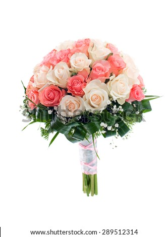 Wedding bridal bouquet of roses. isolated - stock photo