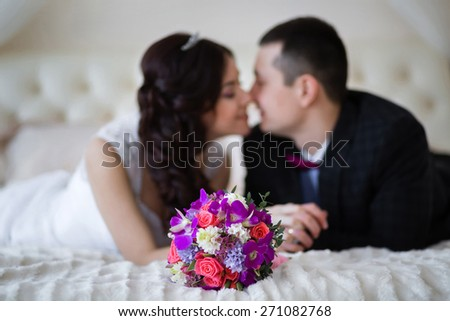 Wedding bridal bouquet on the background just married