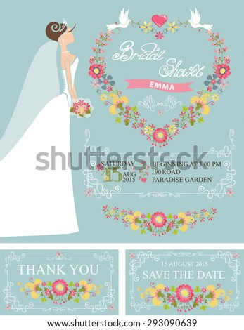 Wedding Bridal Shower Invitation Set Cute Cartoon Stock Illustration ...