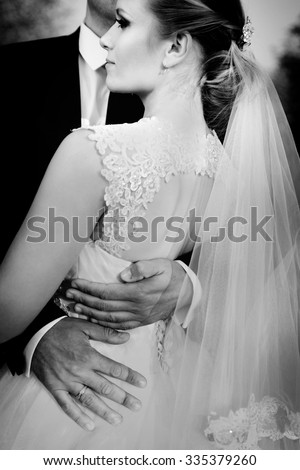 Wedding. Bride and Groom. Black and white image - stock photo