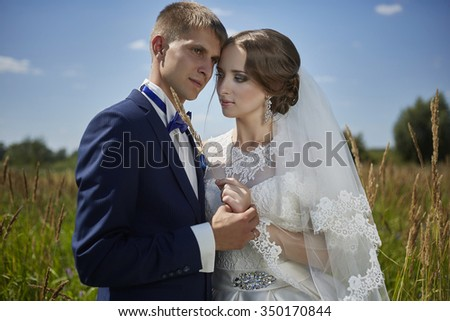 Wedding bride and groom in beautiful dresses on the nature of the summer. Wedding, beauty, style, sense.