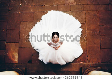 wedding bride portrait top down magnificent dress - stock photo