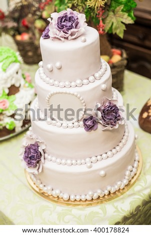 wedding cake and buffet table