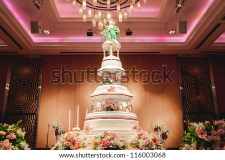 wedding cake at wedding reception - stock photo