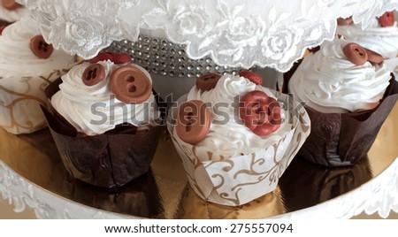 Wedding cake. Candy bar. - stock photo