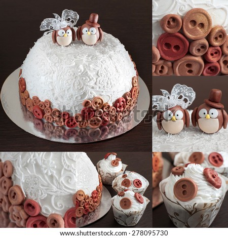 Wedding cake. Candy bar on a dark background. Collection. - stock photo