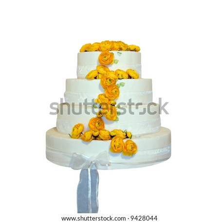 Wedding cake decorated with yellow roses (isolated on white) - stock photo