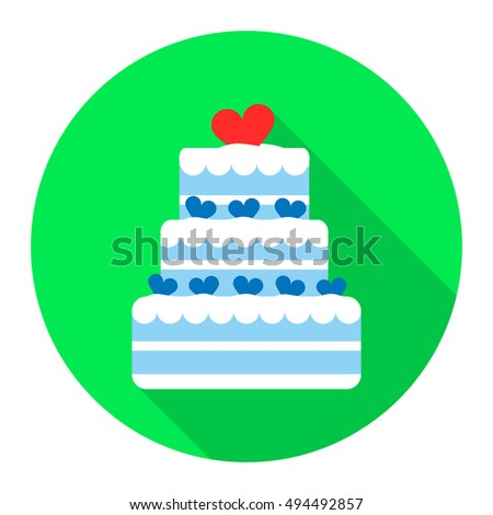 Wedding cake icon of rastr illustration for web and mobile
