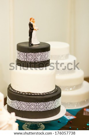 Wedding cake in black and white colors - stock photo