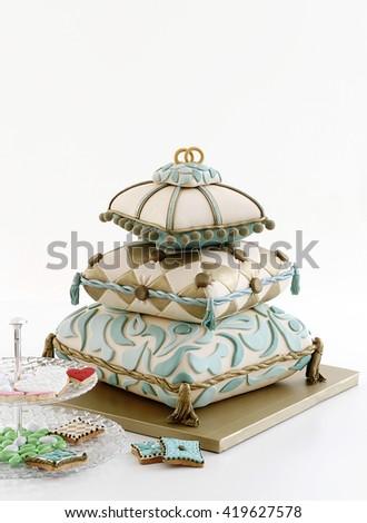 wedding cake isolated - stock photo