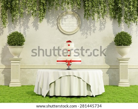 Wedding cake on round table in a elegant garden - 3D Rendering - stock photo
