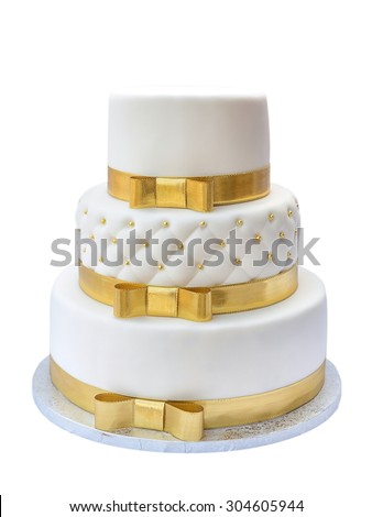 Wedding cake on white background - stock photo