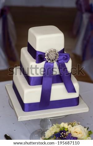 wedding cake purple and white - stock photo