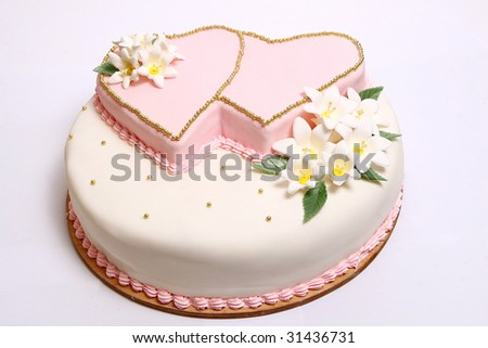 Wedding cake with color flore - stock photo