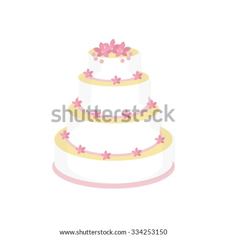 Wedding cake with pink flowers raster isolated, wedding invitation .