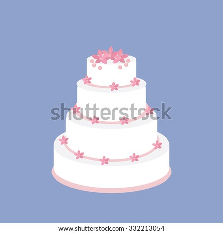 Wedding cake with pink flowers raster on blue background, wedding invitation .