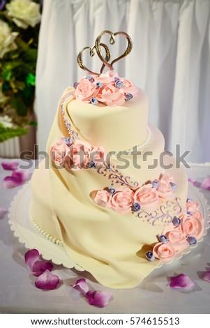 Wedding Cake Red Roses Wedding Table Stock Photo (Royalty Free ...
