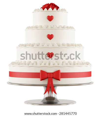 Wedding cake with red roses,hearts and bow isolated on white - 3D Rendering