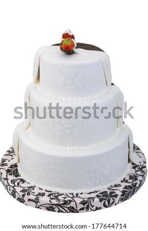 Wedding cake with strawberry - stock photo