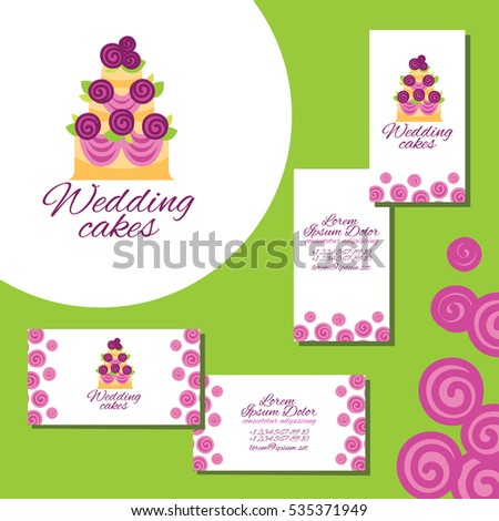 Wedding cakes logo set business cards stock illustration 535371949 wedding cakes logo set of business cards for wedding agency reheart Image collections