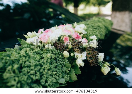Wedding car decoration pink white rose stock photo 496104319 wedding car decoration pink and white rose on green moss rustic style junglespirit Choice Image