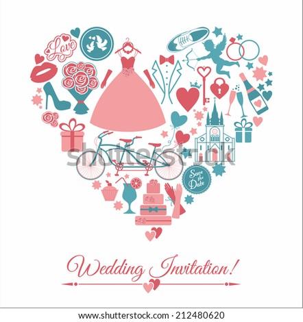 Wedding card invitation. - stock photo