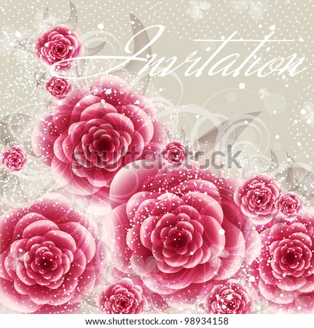 Wedding card or invitation with abstract floral background. Greeting card in grunge or retro style. Elegance pattern with flowers roses, floral illustration in vintage style Valentine - stock photo