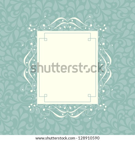 Wedding card or invitation with floral ornament background. For vector version, see my portfolio. - stock photo