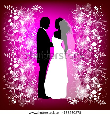wedding card with the newlyweds on a pink background. Raster