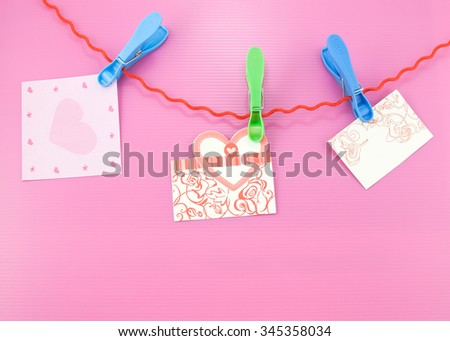 wedding  cards ,hearts  with empty card for your text , on pink beautiful background,Love and beautiful concept