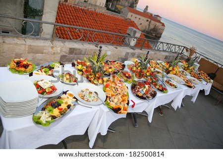 Wedding Catering Outdoor - stock photo