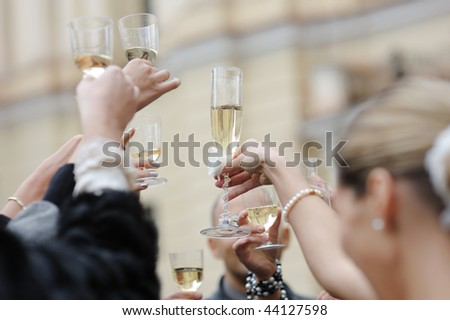 Wedding celebration with champagne glasses - stock photo