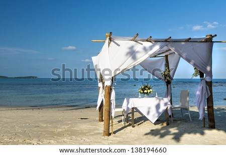 Wedding ceremony dining place on a tropical beach of Koh Samui island,  Thailand - stock photo