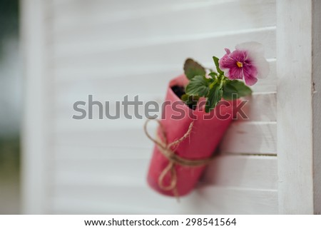 wedding ceremony in outside, rustic style - stock photo