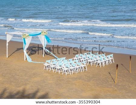 wedding ceremony on the beach - stock photo